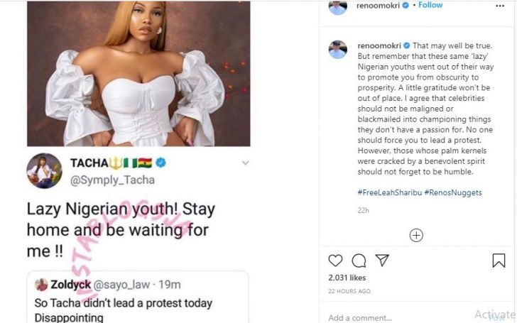 """Reno Omokri Scolds Tacha For Referring To Her Critic As A """"Lazy Nigerian Youth"""" Jvbhv-10"""