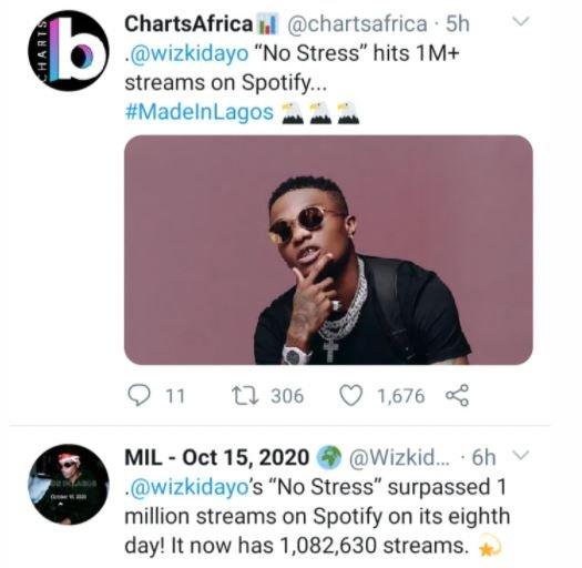 Wizkid's 'No Stress' Hits 1M Streams On Spotify In Just Five Days Jvjv-d10