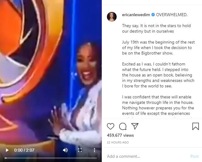 "2020 BBNaija: ""It Was A Sad Moment For Me"" – Erica Writes About Her Disqualification Kdfnkf10"