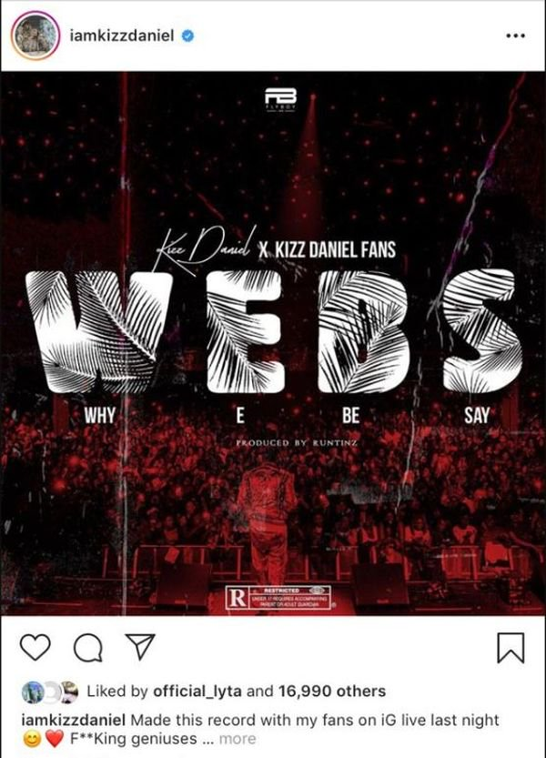 Music/mp3: Kizz Daniel Set To Release A New Song Titled WEBS (Why E Be Say) Kizz-d15
