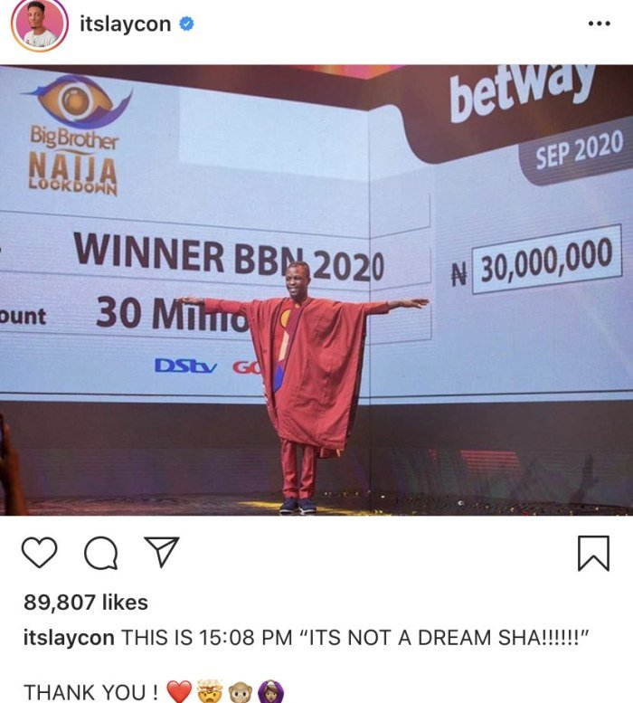 2020 BBNaija: It's Not A Dream Sha – Laycon Says As He Thank His Fans For Their Support Laycon40