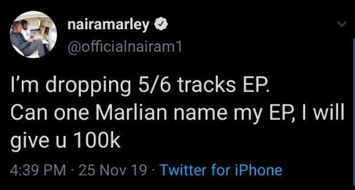 Naira Marley Set To Give A Marlian 100k To Suggest A Name For His Forthcoming EP Marlie10