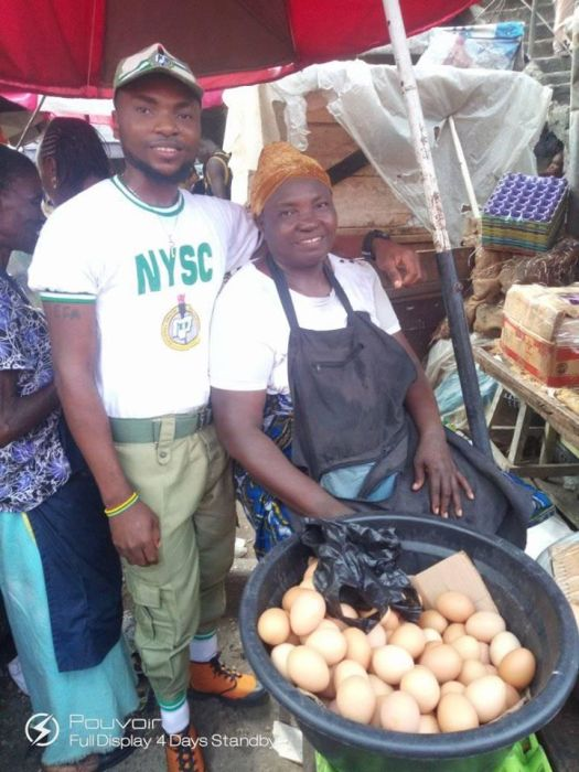 NYSC Corper Shows Off His Mother Who Sold Eggs To See Him Through University (Photos) Mother11