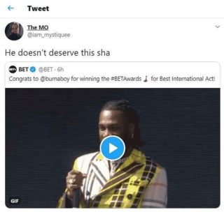 """Burna Boy Does Not Deserve The BET Awards"" – Nigerian Lady Rants on Twitter Mystiq12"