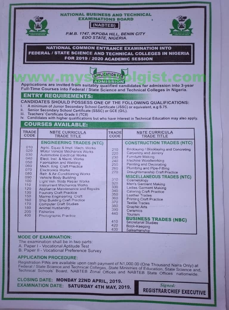 NABTEB Common Entrance Exam for Admission into Federal/State Science and Technical Colleges in Nigeria 2019/2020 Nabteb10