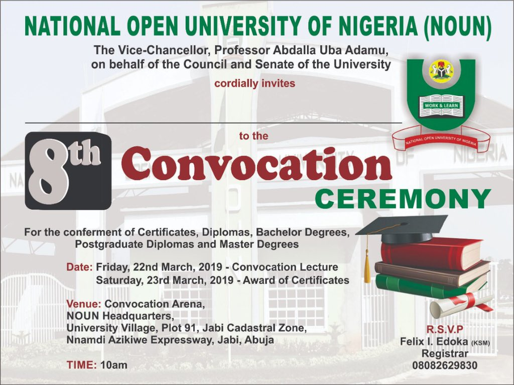 NOUN 8th Convocation Ceremony Programme of Events Nation12