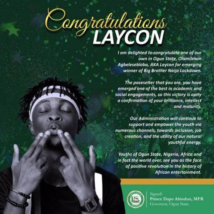 Ogun State Governor's Congratulatory Message To Laycon After Winning Big Brother Naija 2020 Ogun-s10