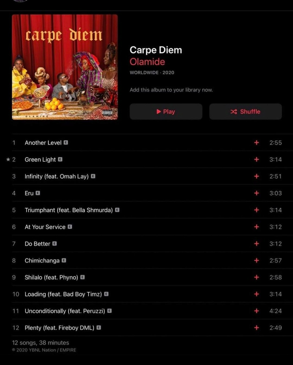 "DOWNLOAD NOW » ""Carpe Diem Album by Olamide"" Full Album Is Out Olamid76"