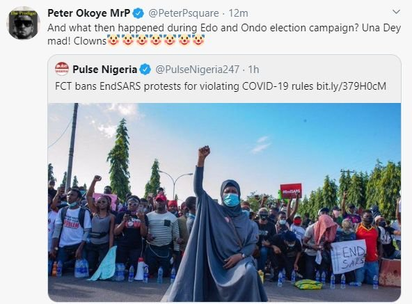 What Then Happened During Edo And Ondo Election Campaign – Peter Okoye Reacts To Ban On #EndSARS Protest In FCT Peter-29