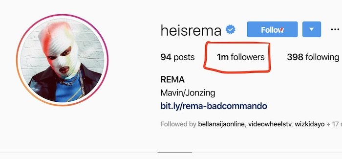Rema Hits One Million Followers On Instagram Rema11