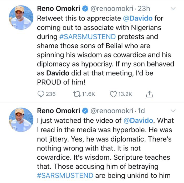 """""""He Applied Wisdom"""" – Reno Omokri Defends Davido After He Denied Engaging In SARS Protest During Meeting With Police PRO Reno-d11"""