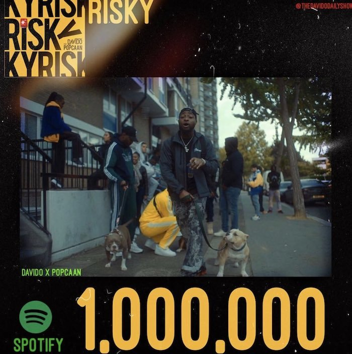 "Davido's Hit Song ""Risky"" Hits 1 Million Streams On Spotify Risky11"