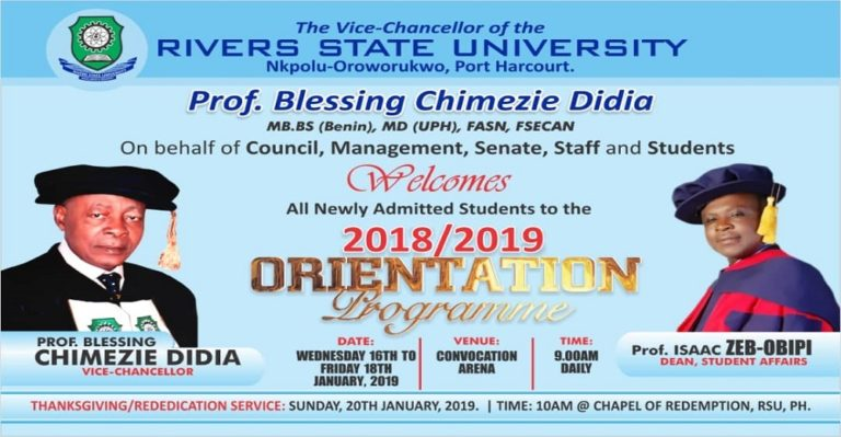 Rivers State University of Science and Technology (RSUST)  Orientation Programme for 2018/2019 Newly Admitted Students Rivers10