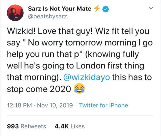 """Wizkid Is A Liar"" – Producer Sarz Reveals On Twitter, Wizkid Responds Sarz110"