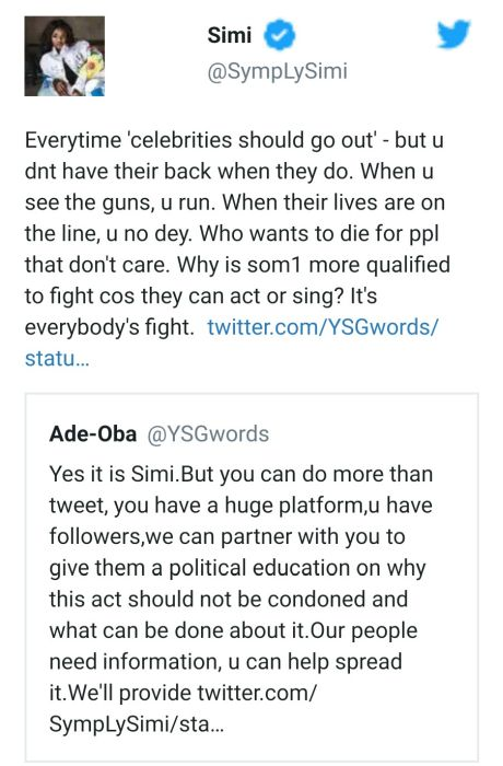 Singer Simi Schools A Fan Over Alleged Re-Arrest Of Omoyele Sowore Simii12