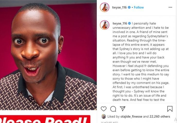 I Hate Unnecessary Attention – IG Comedian, Twyse Apologizes For Speaking Up For Sydney Talker Syndey10
