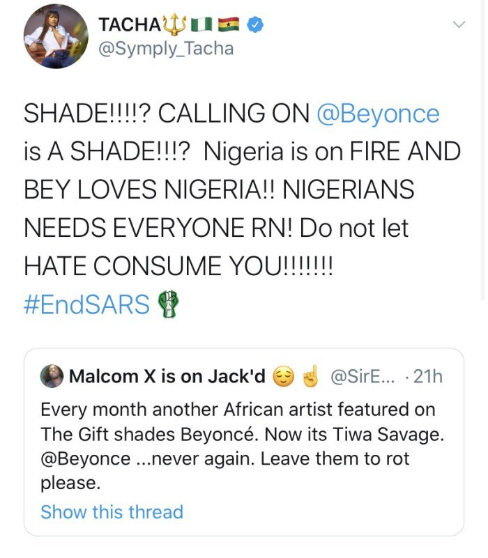 Here's How Tacha Defended Bestie, Tiwa Savage Following Attacks For Calling Out Beyonce Tacha118
