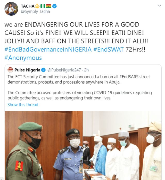 """""""We Are Endangering Our Lives For A Good Cause"""" – Tacha Speaks As FCTA Bans #EndSARS Protest In Abuja Tacha41"""