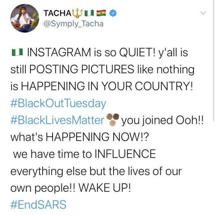 Tacha Blast Celebrities Posting Pictures On Social Media Instead Of Joining EndSARS Protest Tachat10