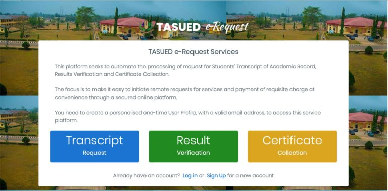 Tai Solarin University of Education (TASUED) Launches Portal for Online Processing of Transcript, Results Verification and Certificate Requests Tasued10