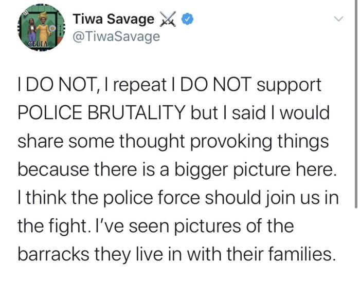 WHY Policemen Should Join #EndSARS Protest – Tiwa Savage Reveals Tiwa-s59