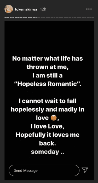 """""""I Can't Wait To Fall Hopelessly And Madly In Love"""" – Toke Makinwa Reveals Toke10"""