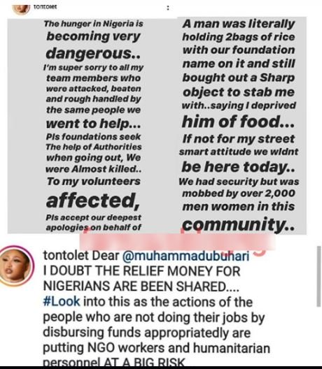 Nollywood Actress, Tonto Dikeh Narrates How She Was Stabbed By A Hungry Man During Her Giveaway Toto10