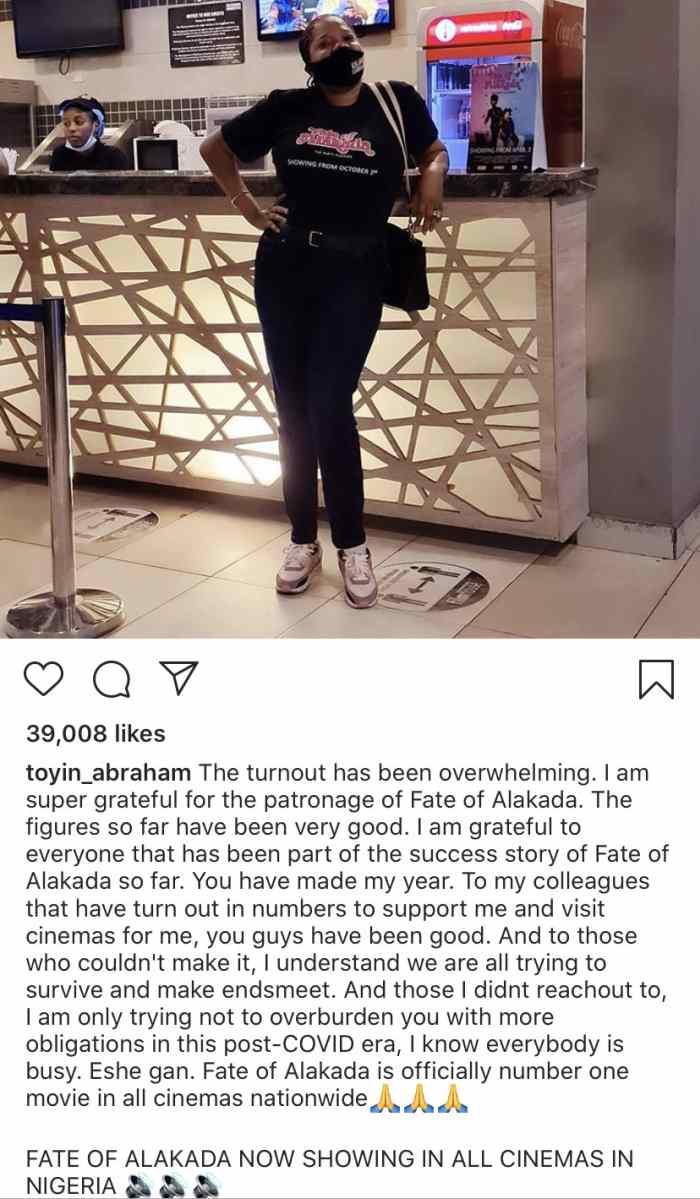 "Toyin Abraham Expresses Joy As Her Movie, ""Fate of Alakada"" Tops Charts In All Cinemas Toyin-67"