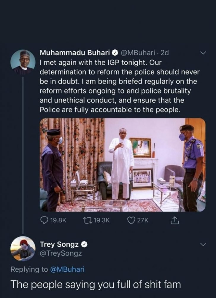 #EndSARS: Nigerians Say You Are Not Serious – Trey Songz Blast Buhari Trey-710