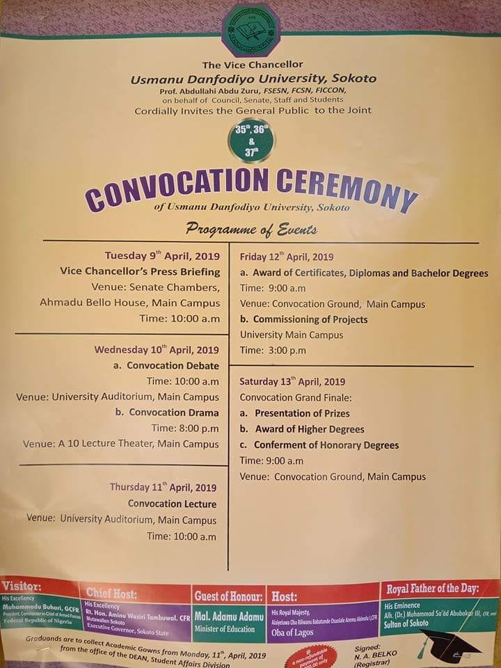 UDUSOK 35th, 36th & 37th Convocation Ceremony Programme of Events Udusok11