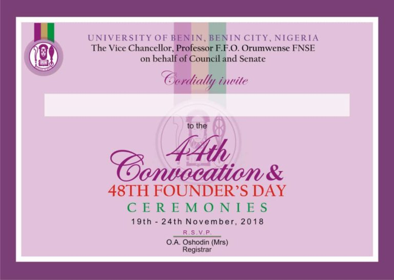 University of Benin (UNIBEN) 44th Convocation & 48th Founder's Day Ceremonies Programme of Events Uniben12