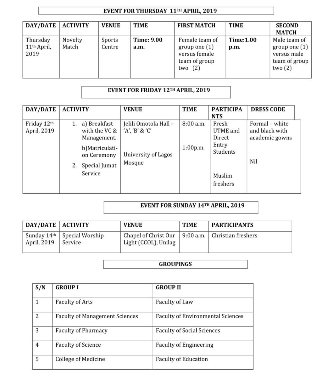 University of Lagos (UNILAG) Orientation Programme Schedule for 2018/2019 Fresh Students Unilag13