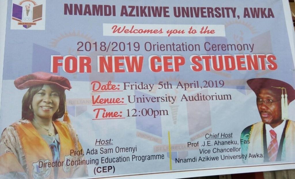 UNIZIK CEP Orientation Ceremony Schedule for 2018/2019 Academic Session Unizik19