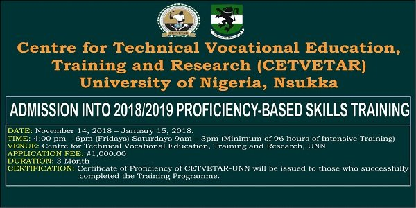 2018/2019 University of Nigeria, Nsukka (UNN) Proficiency-Based Skills Training (CETVETAR) Admission Form  Unn-pr10