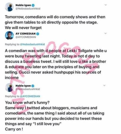 Noble Igwe, AY Makun Clash On Twitter Over Comedians Who Invite Politicians To Their Shows Vsd10