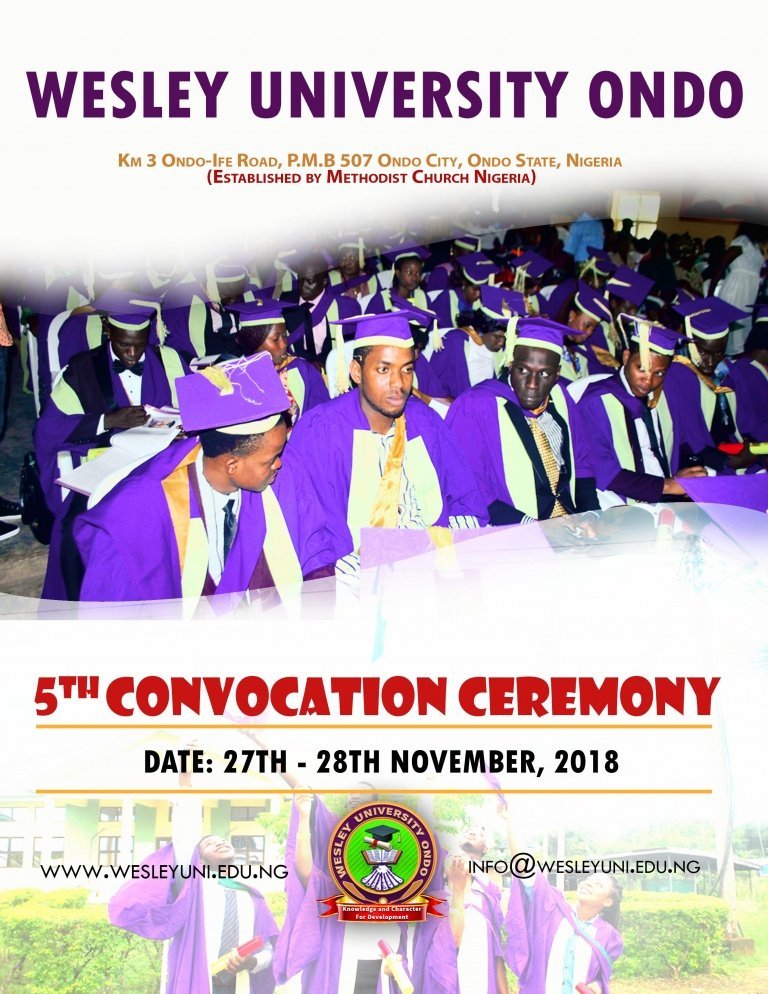 Wesley University Ondo 5th Convocation Ceremony Programme of Events Wesley10