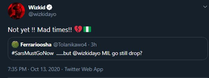 "Wizkid Is No Longer Dropping ""Made In Lagos"" Album This October Due To #ENDSARS Issue Wiz-mi10"