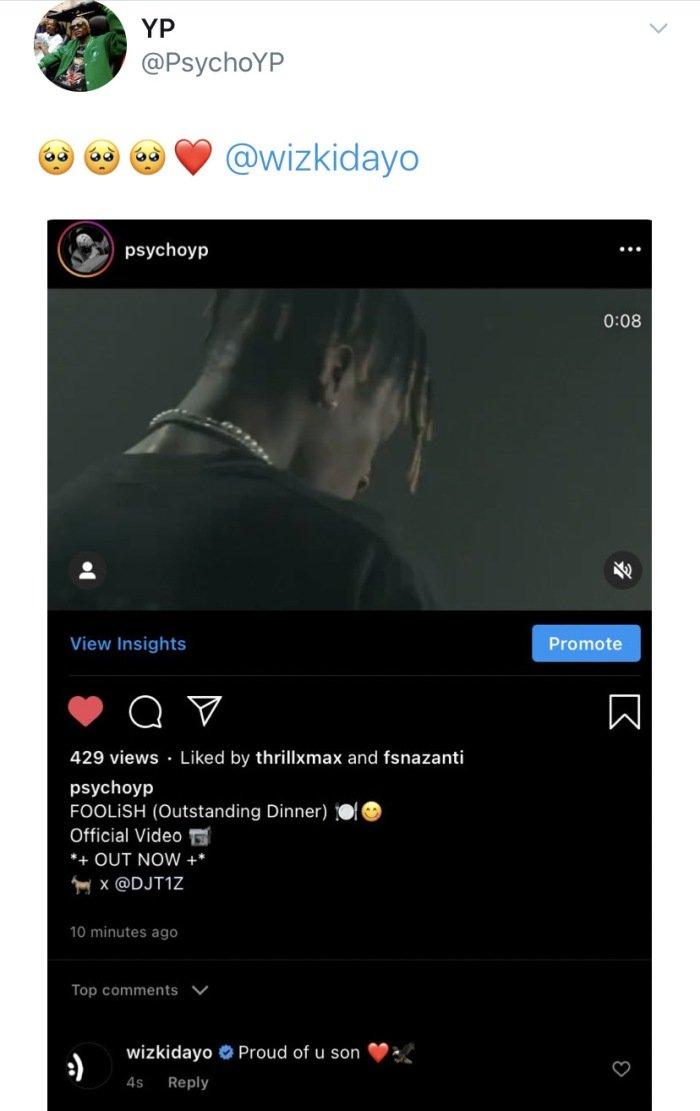 Wizkid Shows Love To This Upcoming Artist Wizki153