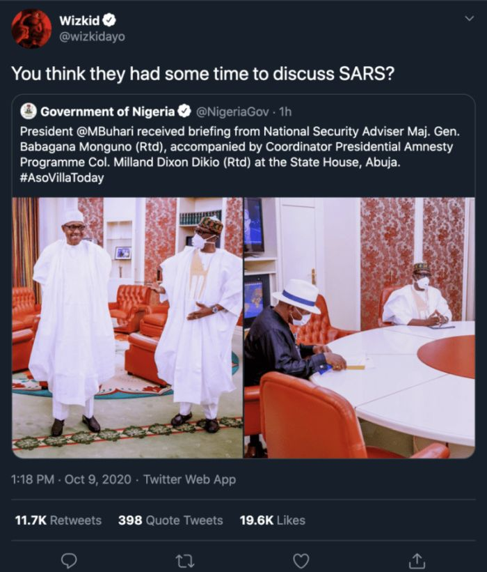 """""""You Think They Had Some Time To Discuss SARS?"""" – Wizkid Reacts To Buhari Meeting With The National Security Adviser Wizki171"""