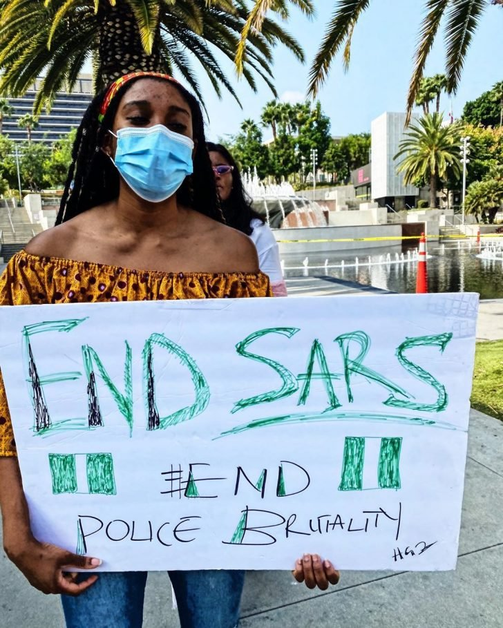 #EndSars: Rapper, Yung6ix Leads Protest In Los Angeles, US (Photos) Yung6i31