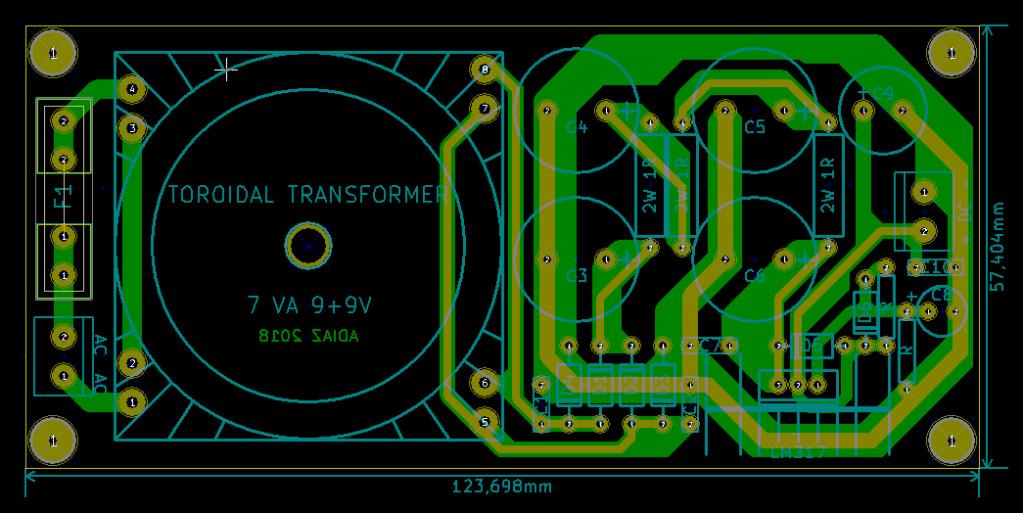 Fuente de alimentación lineal para Chromecastaudio Pcb_fu10