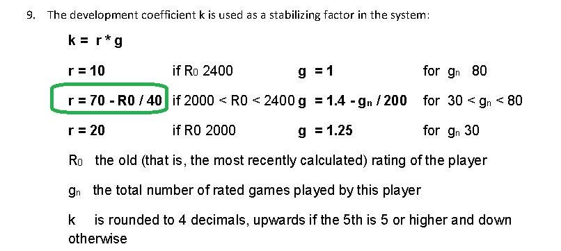 Calcul du classement Elo ICCF Elok10