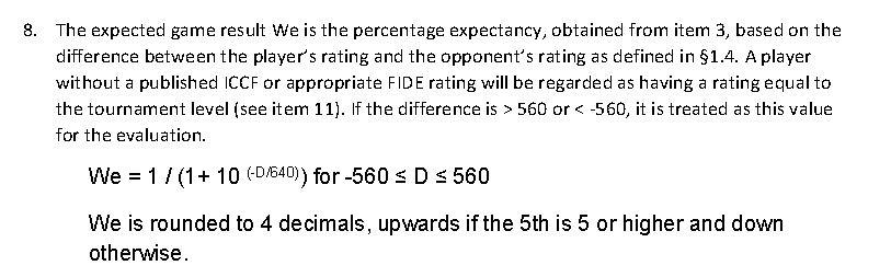 Calcul du classement Elo ICCF We11