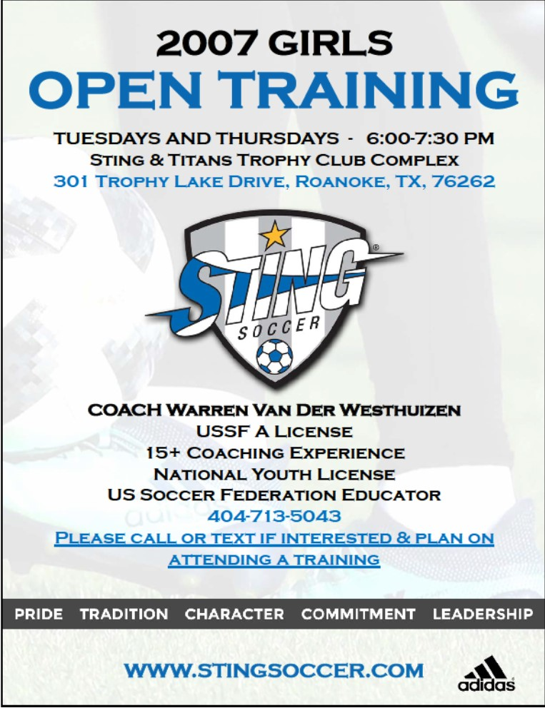Sting 2007 Girls Trophy Club - 2 Spots Available 77103010