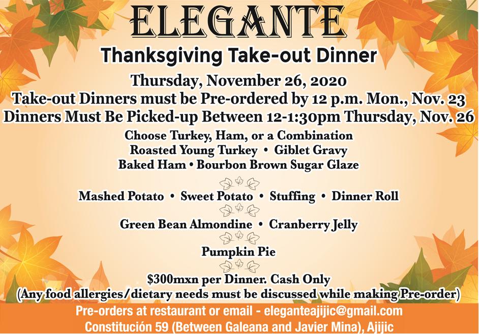 Elegante Thanksgiving Take-out Dinner Thurs, Nov 26. Elegan11
