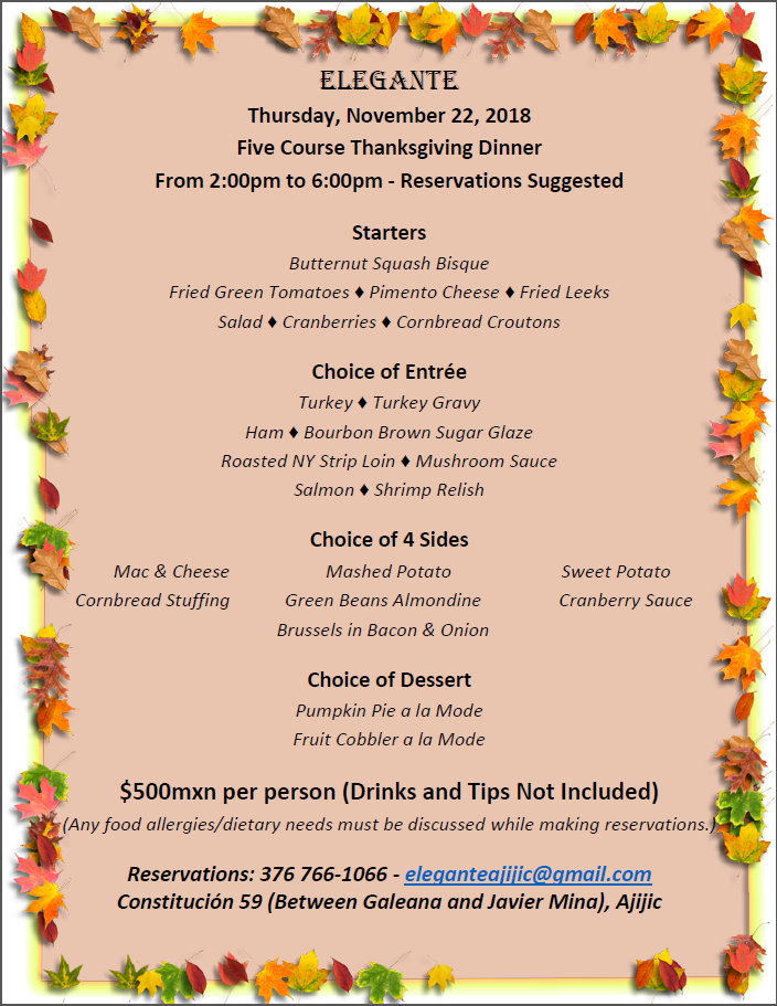 Elegante Five Course Thanksgiving Dinner Thursday, Nov. 22, 2018 from 2:00 to 6:00pm Thanks12