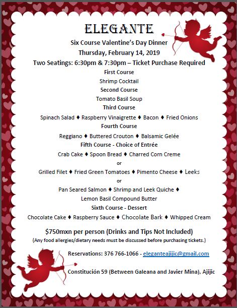 Elegante Valentine's Day Dinner. Thursday February 14, 2019 6:30 & 7:30 Seatings Valent12