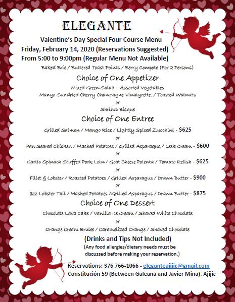 Elegante's Valentine's Day Special Menu Feburary 14, 2020 Valent13