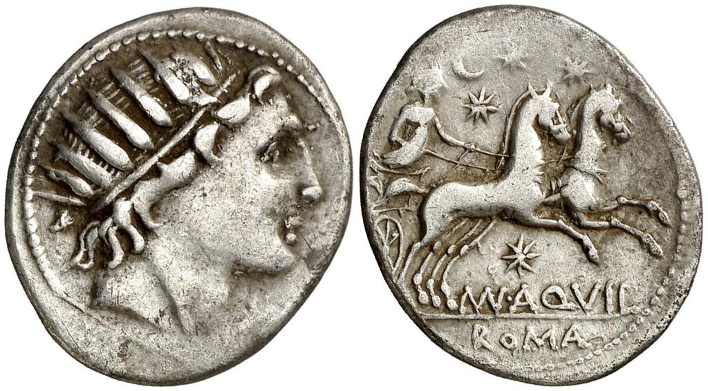 Denario de la gens Aquillia. MAN AQVIL ROMA. Luna guiando biga a dcha. Roma. 000910