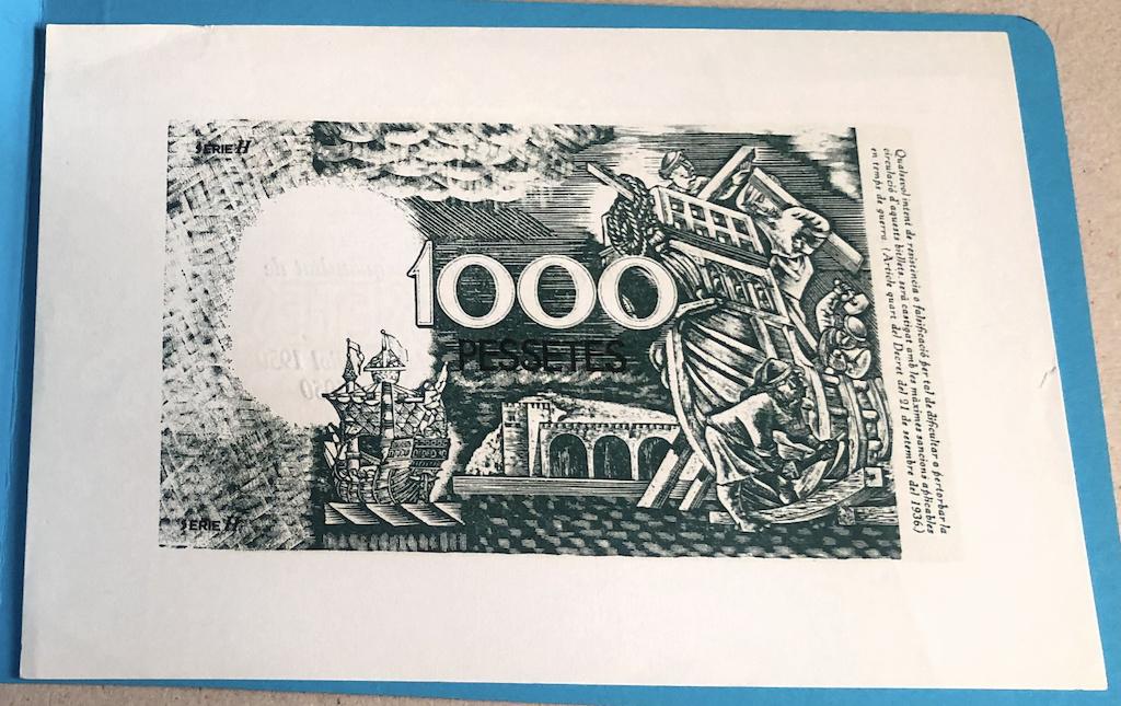 1000 Pesetas 1936 Prueba Color e imprenta Generalitat Catalunya no adoptada 1000pt11